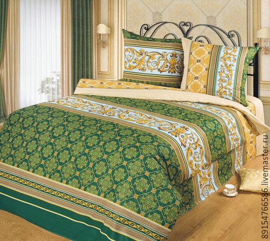 Текстиль, ковры ручной работы. Ярмарка Мастеров - ручная работа. Купить КОМПЛЕКТ ПОСТЕЛЬНОГО БЕЛЬЯ аристократ. Handmade. Тёмно-зелёный