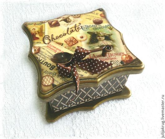 """Корзины, коробы ручной работы. Ярмарка Мастеров - ручная работа. Купить Шкатулка-короб для чая """"Cacao en Chocolate"""". Handmade."""
