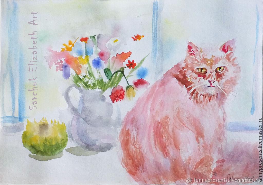 Акварельные Кошки - 6 картин Картина в подарок Иллюстрация, Животные, Токио, Фото №1