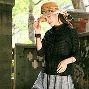 Топы ручной работы. Ярмарка Мастеров - ручная работа Черная полосатая рубашка с шелковым воротником и универсальная рубашка. Handmade.