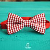 Аксессуары handmade. Livemaster - original item Butterfly tie Vichy red / bow tie plaid. Handmade.