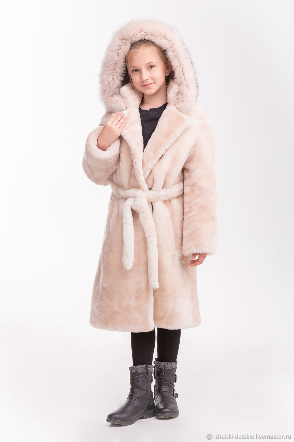 eca2040eb501 Online shopping on Outer Clothing handmade. Order Mouton coat with belt. Kids  fur coat. Livemaster.