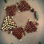 """Украшения ручной работы. Ярмарка Мастеров - ручная работа Бисерный браслет """"шоколадные треугольники"""". Handmade."""