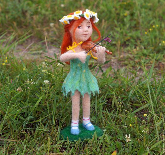 Коллекционные куклы ручной работы. Ярмарка Мастеров - ручная работа. Купить Алиса скрипачка. Кукла. Сухое валяние. Handmade.