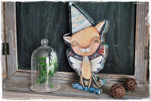 """Детская ручной работы. Ярмарка Мастеров - ручная работа. Купить Фигурка """"КотоФей"""". Handmade. Оранжевый, котенок, ангелочек, акриловые краски"""