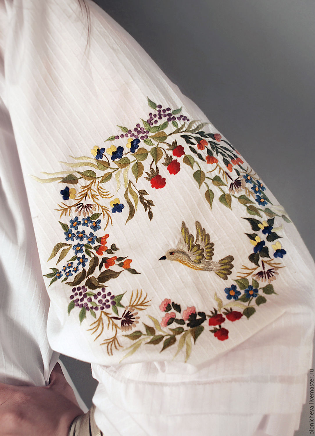 Embroidered White Blouse Bird Land Hand Embroidery Shop Online