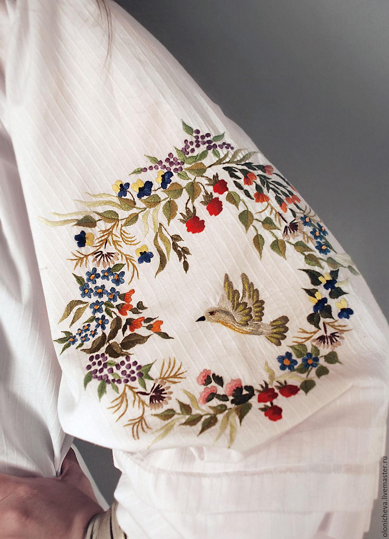 "Вышитая белая блуза ""Птичий край"" ручная вышивка, Блузки, Винница,  Фото №1"