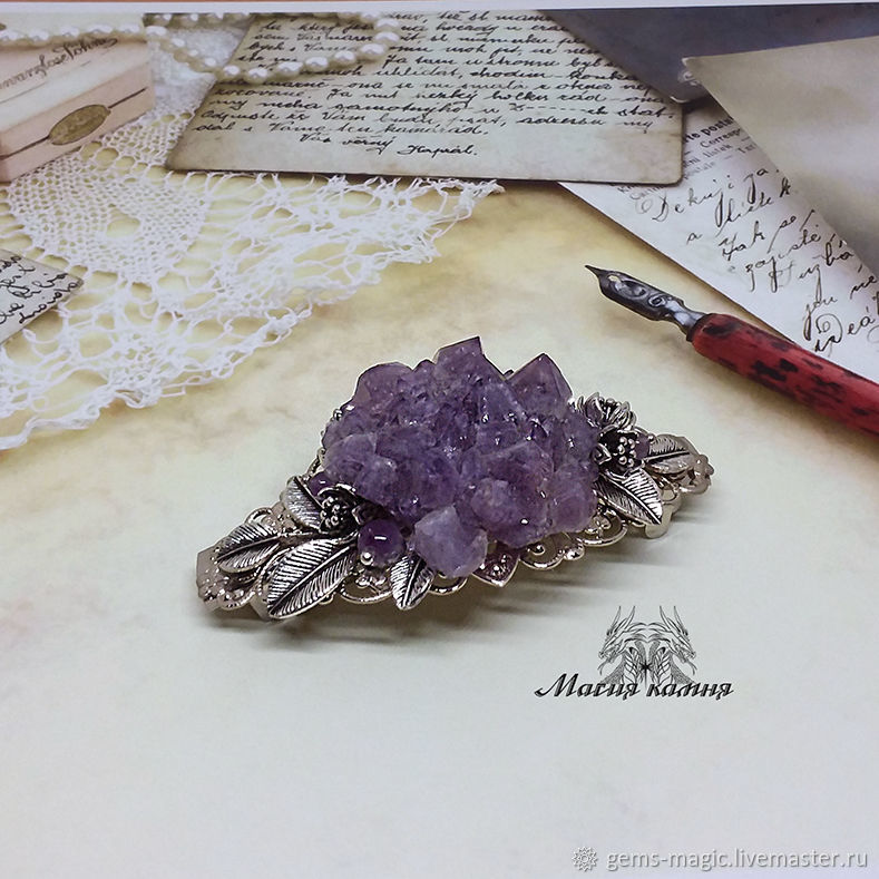 Hair pin with amethyst 'In the meadow', Hairpins, Moscow,  Фото №1