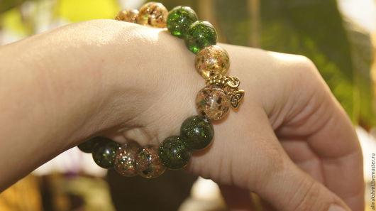 """Браслеты ручной работы. Ярмарка Мастеров - ручная работа. Купить Браслет зеленый """"Кельтский узел"""". Handmade. Зеленый, браслет на руку"""