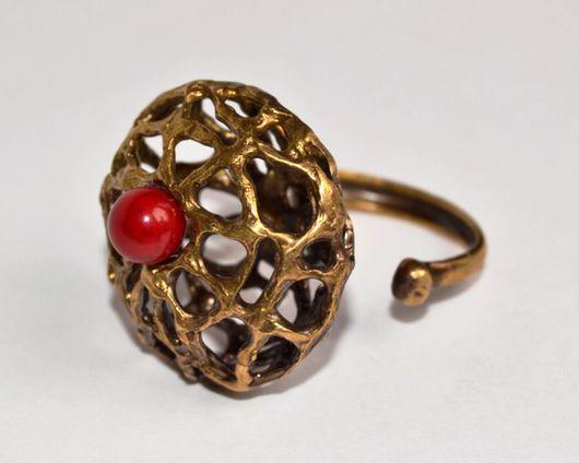 """Кольца ручной работы. Ярмарка Мастеров - ручная работа. Купить Кольцо """"Коралловые рифы"""". Handmade. Ярко-красный, Природные камни"""
