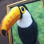 Картины и панно ручной работы. Ярмарка Мастеров - ручная работа Панно птицы тукан. Handmade.