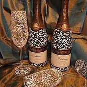 """Свадебный салон ручной работы. Ярмарка Мастеров - ручная работа Свадебный набор бокалы и бутылки шампанского """"Романтика"""". Handmade."""