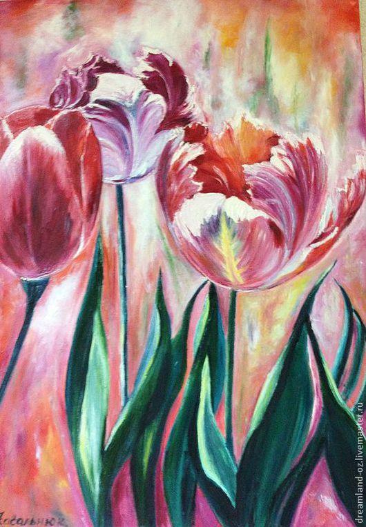 """Картины цветов ручной работы. Ярмарка Мастеров - ручная работа. Купить Картина маслом """" Тюльпаны для тебя..."""". Handmade."""