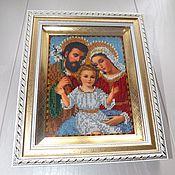 """Картины и панно ручной работы. Ярмарка Мастеров - ручная работа Икона вышитая бисером """" Святое семейство """". Handmade."""