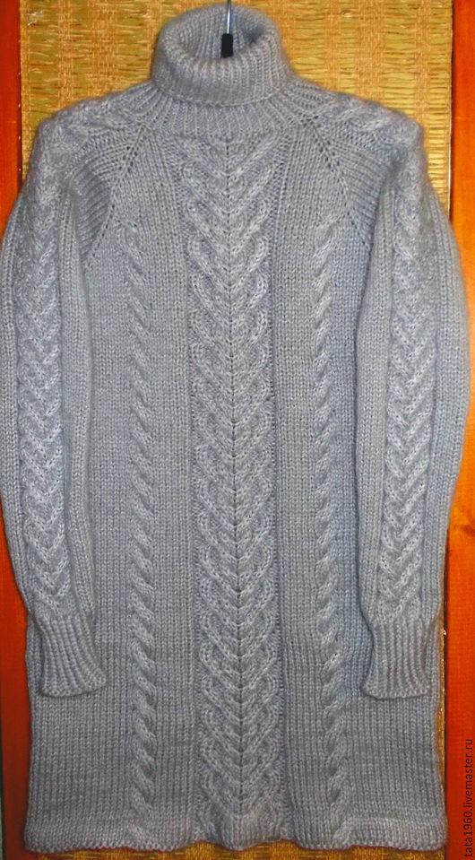 Кофты и свитера ручной работы. Ярмарка Мастеров - ручная работа. Купить Вязаная туника женская. Handmade. Серый, однотонный