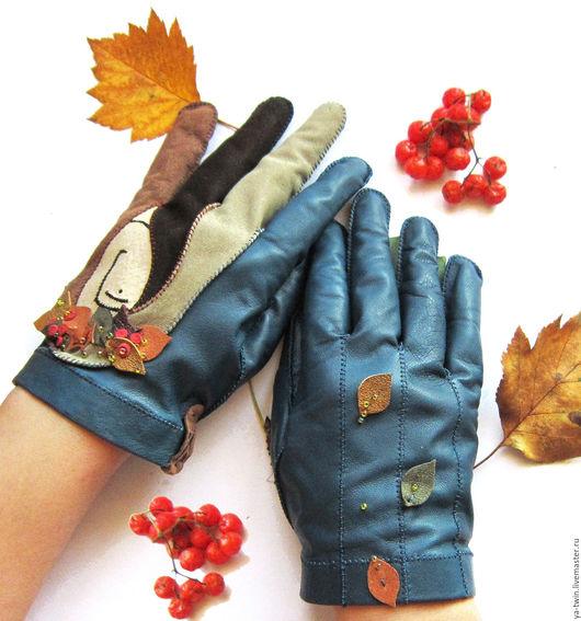 Варежки, митенки, перчатки ручной работы. Ярмарка Мастеров - ручная работа. Купить Перчатки из кожи. Handmade. Комбинированный, кожаные перчатки