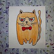 Открытки ручной работы. Ярмарка Мастеров - ручная работа `Четкий кот`. Handmade.