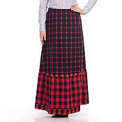 Одежда handmade. Livemaster - original item Skirt boho Three Cells of cotton. Handmade.