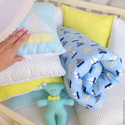 Для новорожденных, ручной работы. Ярмарка Мастеров - ручная работа. Купить Комплект в детскую кроватку Sea Regatta. Handmade. Голубой