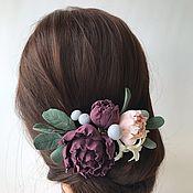 Свадебный салон handmade. Livemaster - original item Comb for the hair with flowers. polymer clay.. Handmade.