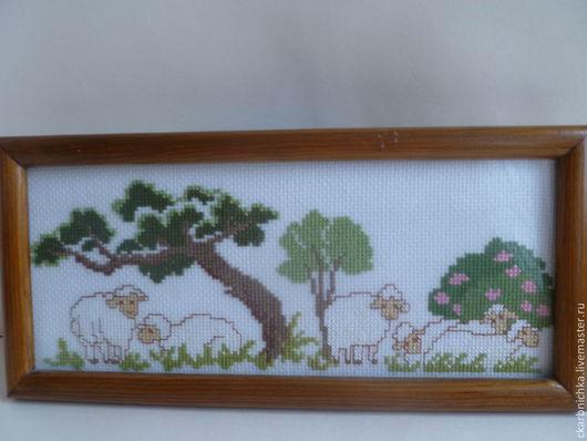 """Животные ручной работы. Ярмарка Мастеров - ручная работа. Купить Детская картинка""""Овечки"""". Handmade. Вышивка, в детскую, овечка, канва, стекло"""