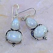 Серьги серебро лунный камень, адуляр 3