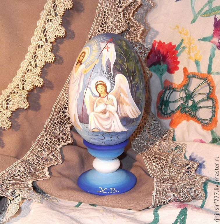 Easter egg painting jesus christ with angels shop online on gift sets handmade easter egg painting jesus christ with angels original painted souvenirs and negle Images