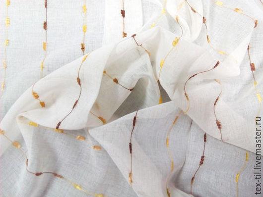 Текстиль, ковры ручной работы. Ярмарка Мастеров - ручная работа. Купить Лен полоса для штор. Handmade. Белый, ткань тюлевая