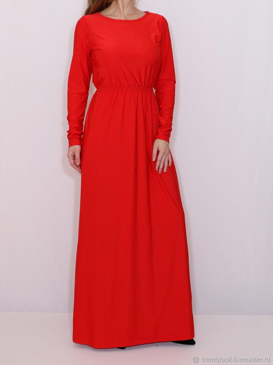 add3af00d33 Платья ручной работы. Ярмарка Мастеров - ручная работа. Купить Красное  платье в пол с ...
