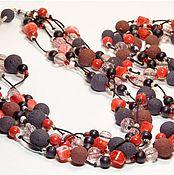Украшения ручной работы. Ярмарка Мастеров - ручная работа Бусы на хлопковом шнуре. Handmade.