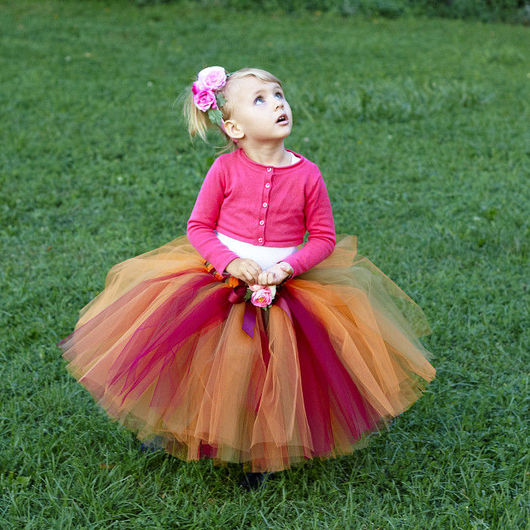 """Одежда для девочек, ручной работы. Ярмарка Мастеров - ручная работа. Купить """"Осенний"""" комплект пышная юбка-пачка и ободочек с цветами. Handmade."""
