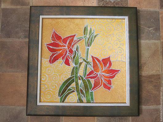"""Картины цветов ручной работы. Ярмарка Мастеров - ручная работа. Купить """"Аленький  цветочек """"батик-картина. Handmade. Картина для интерьера"""