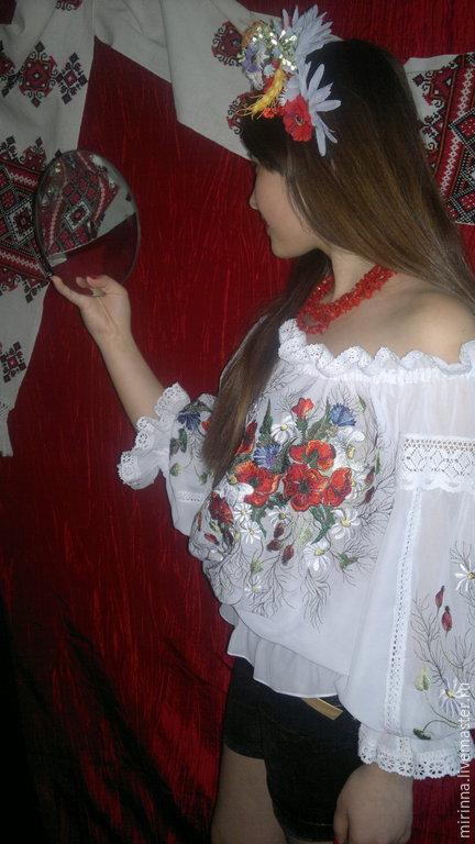 """Блузки ручной работы. Ярмарка Мастеров - ручная работа. Купить вышиванка""""МАКОВАЯ РОССЫПЬ""""ручная вышитая блуза. Handmade. Разноцветный, вышивка на одежде"""