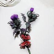 Цветы и флористика handmade. Livemaster - original item Flowers: Interior Thistle made of leather. Handmade.