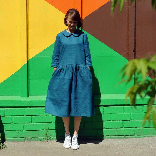 """Платья ручной работы. Ярмарка Мастеров - ручная работа. Купить Платье """"Море"""". Handmade. Тёмно-синий, авторская работа"""
