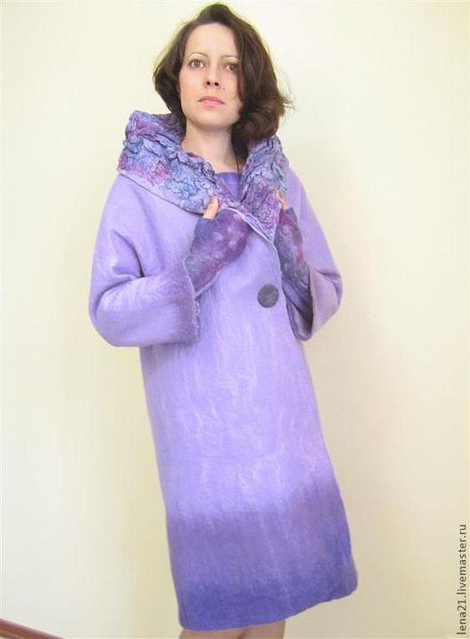 Верхняя одежда ручной работы. Ярмарка Мастеров - ручная работа. Купить сиреневое пальто(возможно+платье+митенки). Handmade. Сиреневый, шерсть меринос