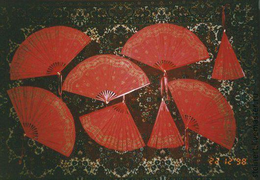 Веера ручной работы. Ярмарка Мастеров - ручная работа. Купить веера красные. Handmade. Ярко-красный, орнамент, веер, шёлк