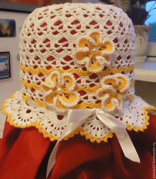 Шапки и шарфы ручной работы. Ярмарка Мастеров - ручная работа. Купить Шапочка для девочки. Handmade. Комбинированный, панамка для девочки, белая