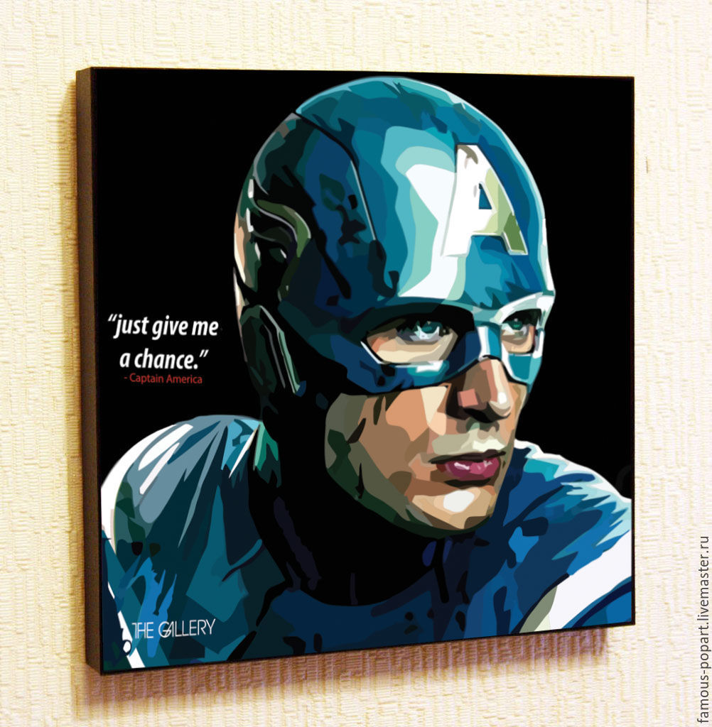 Painting poster Pop Art Captain America, Pictures, Moscow,  Фото №1