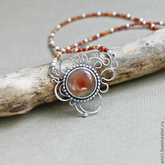 Mini-necklace in silver and agate, Necklace, Tallinn,  Фото №1