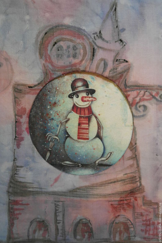 Новый год 2017 ручной работы. Ярмарка Мастеров - ручная работа. Купить Город снеговиков. Handmade. Розовый, снеговик, шифон