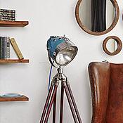 handmade. Livemaster - original item Industrial style Moto floor lamp RoadMaster Blue. Handmade.