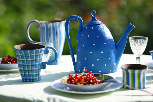 """Сервизы, чайные пары ручной работы. Ярмарка Мастеров - ручная работа. Купить набор посуды """"Леди"""". Handmade. Синий, кружка"""