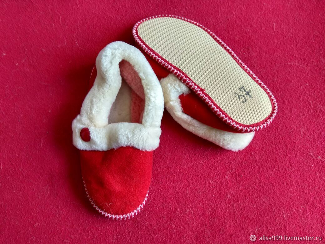 Granny slippers made of mouton, soft sole red, Slippers, Moscow,  Фото №1