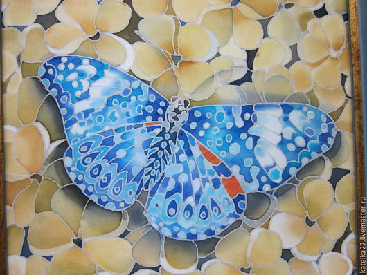 """Животные ручной работы. Ярмарка Мастеров - ручная работа. Купить Батик- картина """"Бабочка"""". Handmade. Бабочки, украшение для интерьера"""