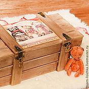 """Подарки к праздникам ручной работы. Ярмарка Мастеров - ручная работа Новогодний ящик """"Веселые мишки"""", новогодняя упаковка. Handmade."""