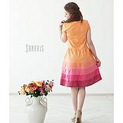 Одежда ручной работы. Ярмарка Мастеров - ручная работа Платье из льна «Персиковый цвет». Handmade.