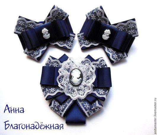 Галстуки, бабочки ручной работы. Ярмарка Мастеров - ручная работа. Купить Комплект с галстуком-брошью.. Handmade. Тёмно-синий, комплект