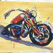 Картины ручной работы. Ярмарка Мастеров - ручная работа Картина акриловыми красками на холсте «Мотоцикл». Handmade.