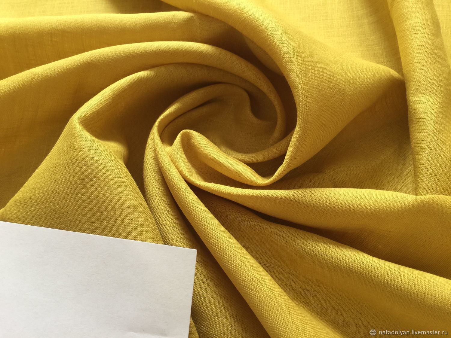 100% light weight suit linen ' Mustard yellow', Fabric, Ivanovo,  Фото №1